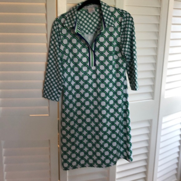 Gretchen Scott Designs Dresses & Skirts - PREPPY NAVY & GREEN DRESS